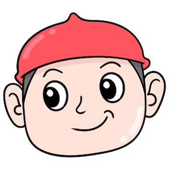 Het hoofd van een moslimjongen met een rode dop, vectorillustratiekarton emoticon. doodle pictogram tekening