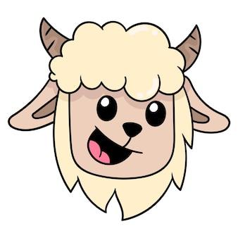 Het hoofd van een schaap met een lachend gezicht met dikke vacht, vectorillustratie kartonnen emoticon. doodle pictogram tekening