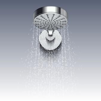Het hoofd van het douchemetaal met druppelt van water op witte achtergrond wordt geïsoleerd die. douche voor badkamer, waterhygiëne