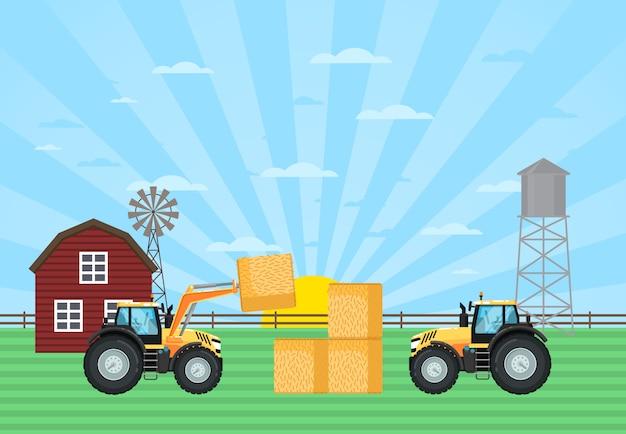 Het hooibaal van de tractorlading in stapel op landbouwbedrijf