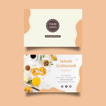 Het horizontale visitekaartje van het ontbijtmenu