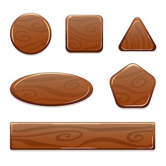 Het houten activa van het pictogramspel op witte achtergrond