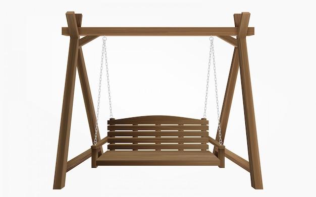 Het houten de schommelingsbank van de portiek geïsoleerd hangen
