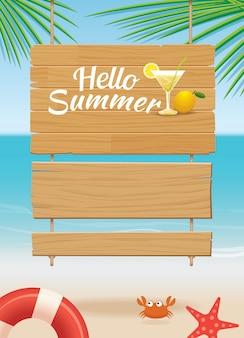 Het houten teken van de zomer op tropische strandachtergrond