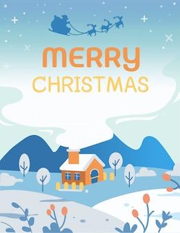 Het huis in het berglandschap met de tekst van merry christmas wenskaart