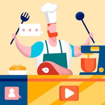 Het huisrestaurant toont vlakke vectorillustratie