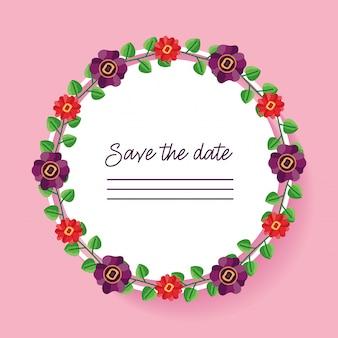 Het huwelijk bewaart de datum afgeronde kaart