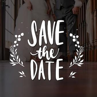 Het huwelijk bewaart de datum met foto