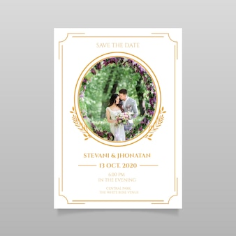 Het huwelijk bewaart de datumuitnodiging met foto