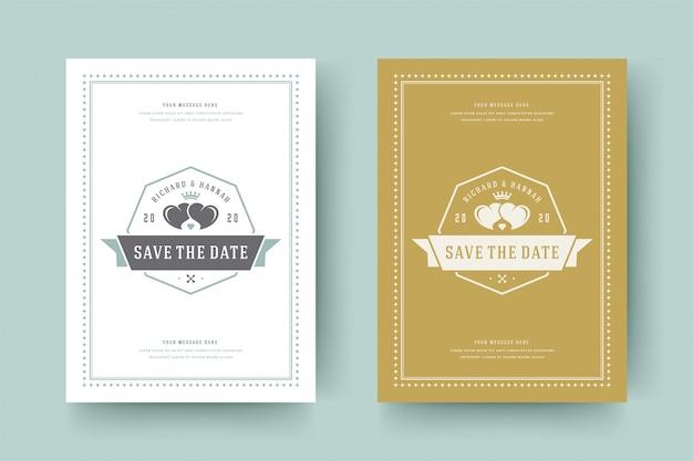 Het huwelijk bewaart de kaart vectorillustratie van de datumuitnodiging.