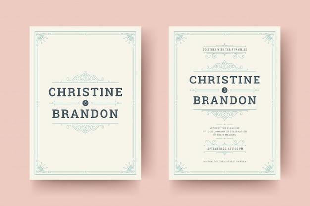 Het huwelijk bewaart de kaarten van de datumuitnodiging bloeit ornamenten.