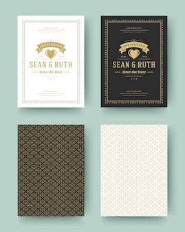 Het huwelijk bewaart de vintage typografische datumuitnodigingskaarten. bruiloft uitnodigen titels ontwerp.