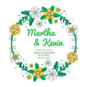Het huwelijks bloemenkader bewaart de datum met bloemen