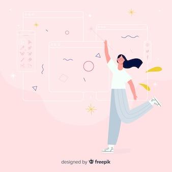 Het ideeconcept van het vrouwen grafische ontwerp