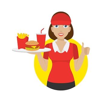 Het illustratiemeisje houdt dienblad met snel voedsel, formaat eps 10