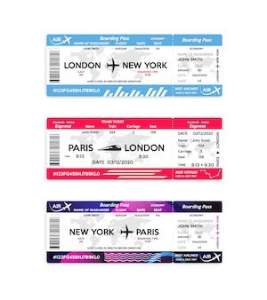 Het instapkaartkaartje van het vliegtuig en van de trein dat op wit wordt geïsoleerd. concept van reizen, reis of zakenreis.