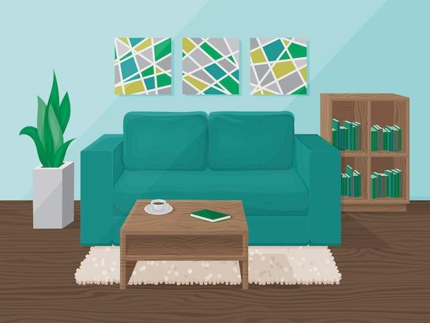 Het interieur van de woonkamer is blauw. cartoon stijl. illustratie.