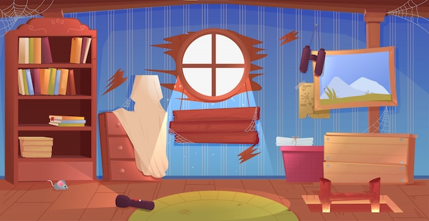 Het interieur van de zolder. een oude vergeten kamer met dozen op het dak.