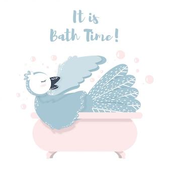 Het is bad tijd belettering vogel zwemmen in een badkamer met bubble. zingende vogels