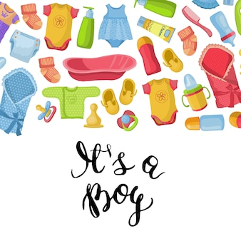 Het is een bot-kaart met belettering en baby-accessoires achtergrond cartoon stijl