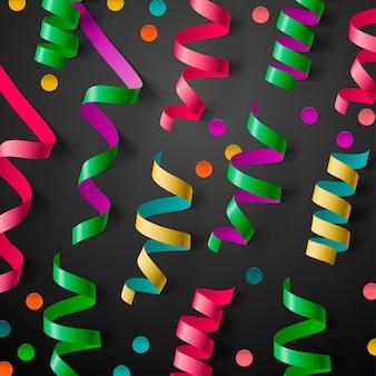 Het is een feestsjabloon met streamers en confetti,