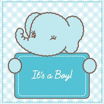 Het is een jongen babyolifant kaart voor baby shower