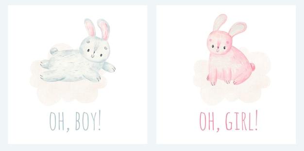 Het is een jongen en het is een meisje inscripties schattige konijntjes op wolken baby kinderachtig ontwerp