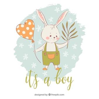 Het is een jongensachtergrond met konijn