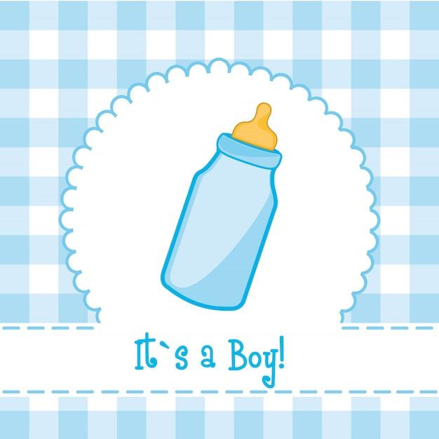 Het is een jongenskaart met baby shower van de flessenbaby