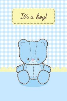 Het is een kaartsjabloon voor een jongensbaby blauw beer