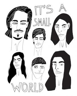 Het is een kleine wereld hand getekende illustratie
