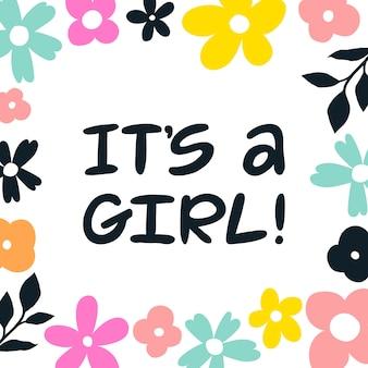 Het is een meisje! handgeschreven belettering wenskaart.