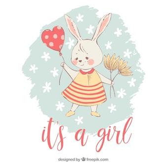 Het is een meisjesachtergrond met konijn