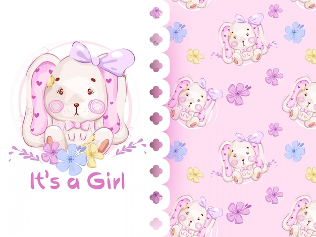Het is een meisjespatroon met konijn naadloos patroon