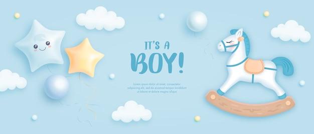 Het is een uitnodiging voor een babyshower voor jongens