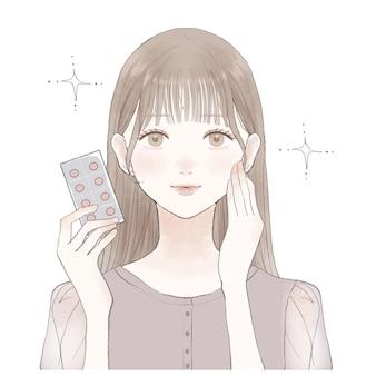 Het is een vrouw met een supplement van het type tablet.
