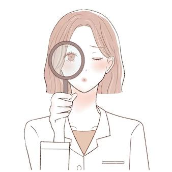 Het is een vrouwelijke arts die controleert met behulp van een loep.