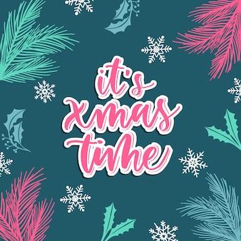 Het is kerstmis. prettige kerstdagen en gelukkig nieuwjaar wenskaart instellen met kalligrafie. hand getekend moderne belettering.