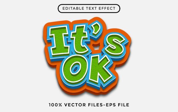 Het is ok bewerkbare teksteffect cartoon premium vectoren