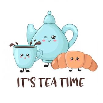 Het is thee-tijd. kawaii eten, chocolade croissant, kopje thee, theepot