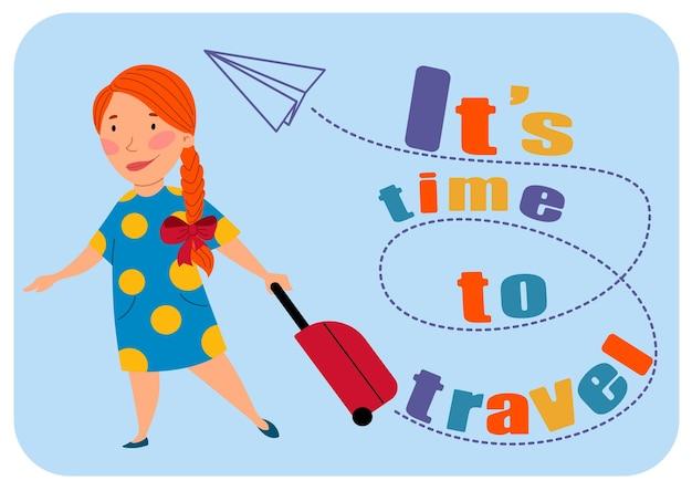 Het is tijd om te reizen. een mooi roodharig meisje staat met een koffer, een kind met een vlecht en een strik. vectorillustratie in een vlakke stijl op een witte geïsoleerde achtergrond.