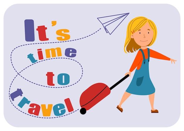 Het is tijd om te reizen. het meisje ging op reis met een koffer. een schattige baby heeft haast om te vliegen. vectorillustratie in een vlakke stijl op een witte geïsoleerde achtergrond.
