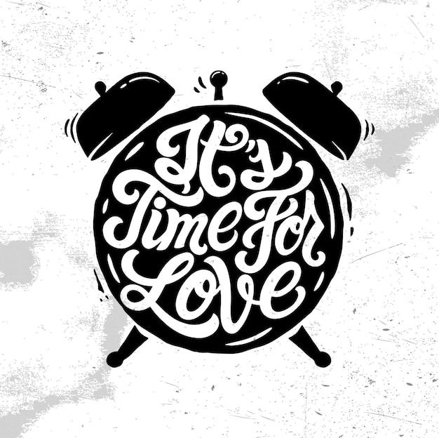 Het is tijd voor liefdesbelettering logo, badge, embleem