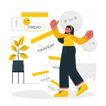 Het is vrijdag concept illustratie