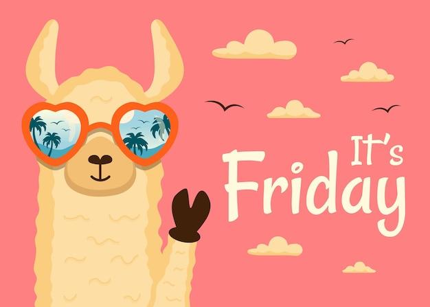 Het is vrijdag een gelukkig lama-dier