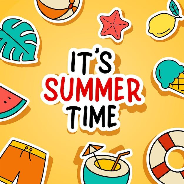 Het is zomertijd, kleurrijke tropische elementen.