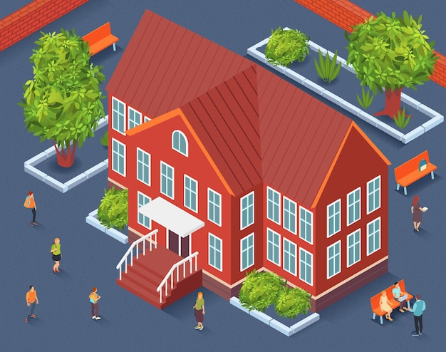 Het isometrisch fragment van het schoolgebied van stadsbouwer met schoolgebouw in centrumbomen en banken rond illustratie,