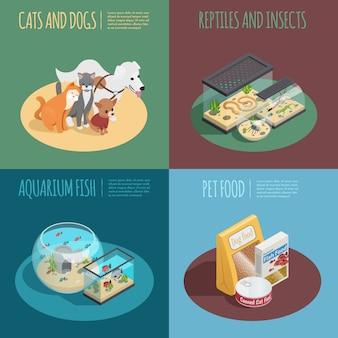 Het isometrische die pictogrammen van het dierenwinkelconcept met voedsel voor huisdierenymbolen worden geplaatst