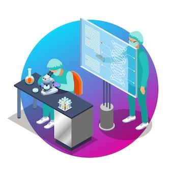 Het isometrische embleem van de microbiologie met twee wetenschappermensen die bij de laboratoriumillustratie werken