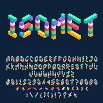 Het isometrische kleurrijke ontwerp van de kubussendoopvont, driedimensionele alfabetletters en getallenillustratie